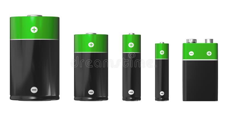 Formati delle batterie: D, C, aa, AAA e PP3 (9V) illustrazione vettoriale