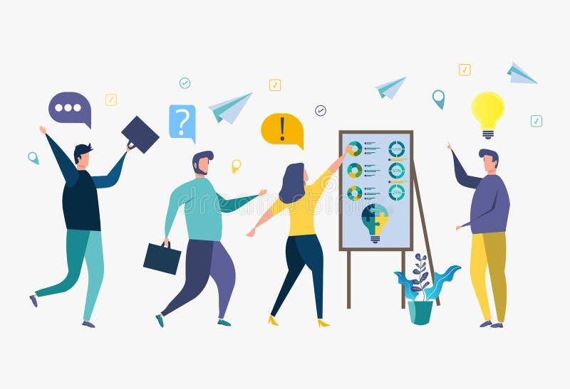 Formation d'affaires, conception du marché, sélection pour le travail, analyse des solutions créatives, perfectionnement du perso illustration de vecteur