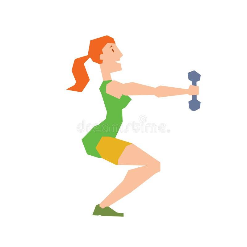 Formation d'exercice de fille faisant le vecteur de postures accroupies illustration de vecteur