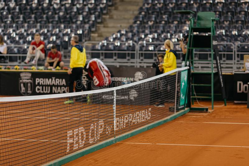 Formation d'Irina Begu chez Fed Cup Roumanie 2018 photo libre de droits