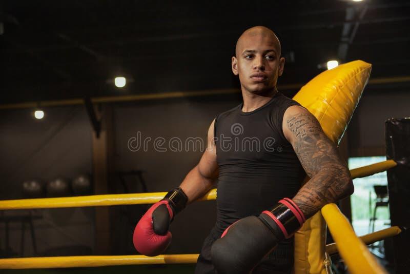 Formation de boxe masculine africaine belle de combattant au gymnase photographie stock libre de droits