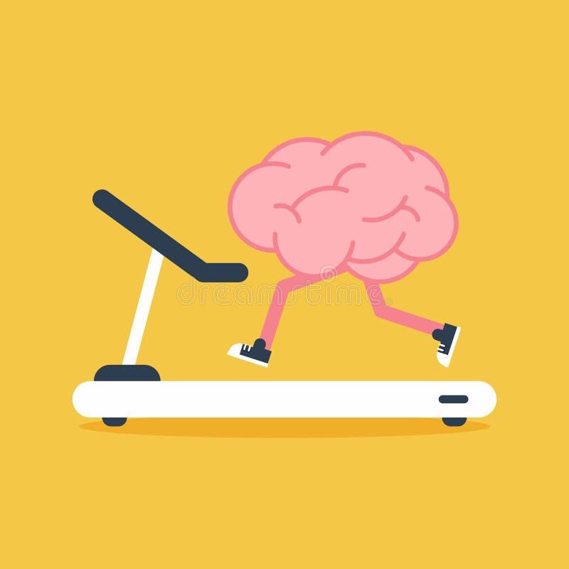 Formation de cerveau avec le tapis roulant courant la conception plate Concept cr?ateur d'id?e illustration stock