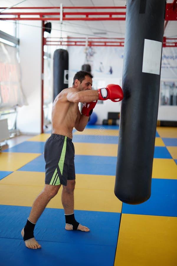 Formation de combattant de Kickbox avec le sac de poinçon photos stock