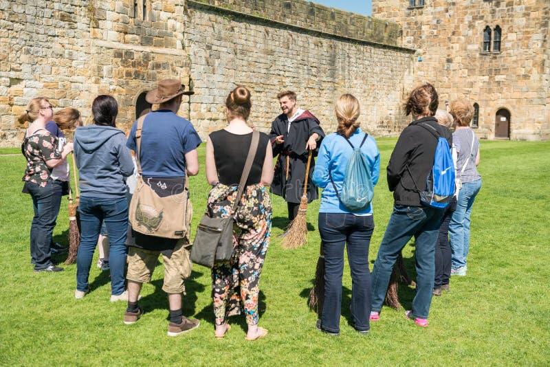 Formation de Harry Potter Broomstick au château d'Alnwick images libres de droits