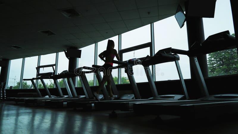 Formation de jeune femme sur le tapis roulant dans le centre de fitness photo libre de droits