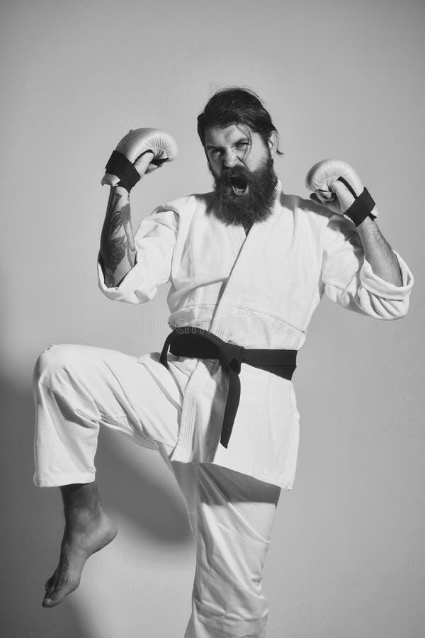 Formation de karaté Homme heureux de cri barbu de karaté dans des gants de kimono et de boxe image libre de droits
