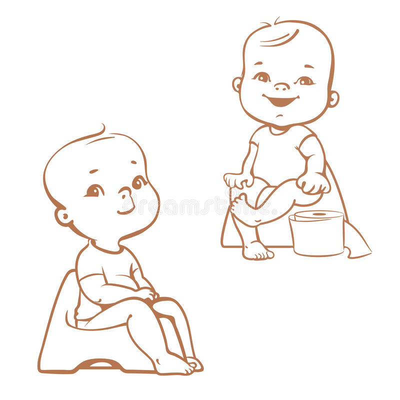 Formation de pot Bébés sur le pot croquis illustration stock
