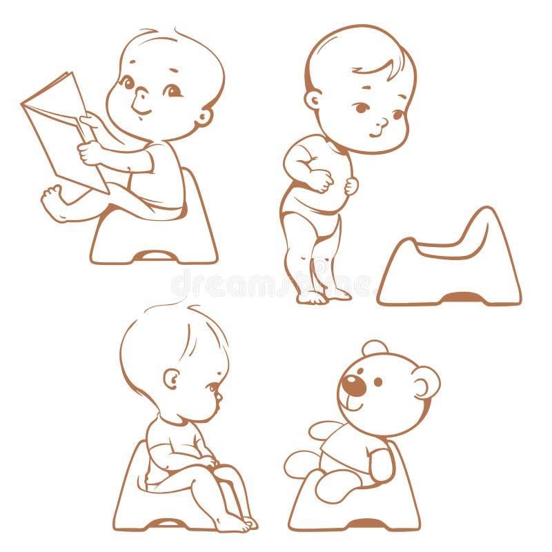 Formation de pot Bébés sur le pot croquis illustration libre de droits