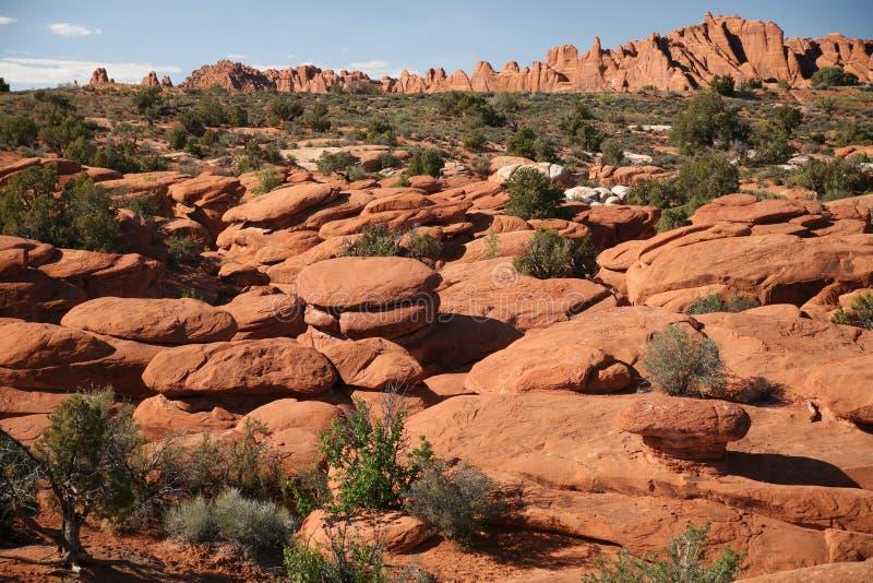 Formation de roche dans les voûtes parc national, Utah, Etats-Unis photos stock
