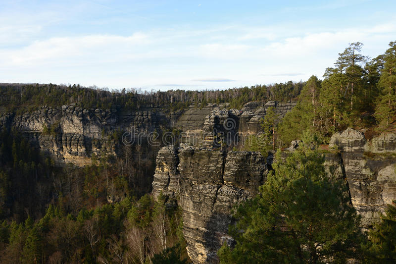 Formation de roche géologique de grès, République Tchèque, l'Europe images libres de droits