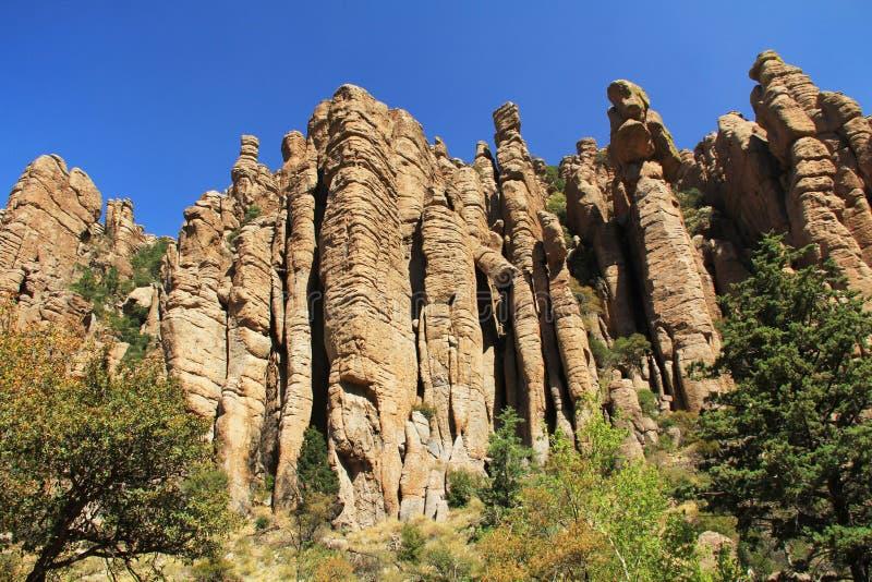 Formation de tuyau d'organe en monument national de Chiricahua, Arizona photographie stock