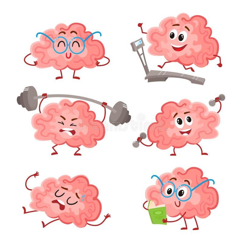 Formation drôle de cerveau avec le barbell, haltères, sur le tapis roulant, lecture, se reposant illustration stock
