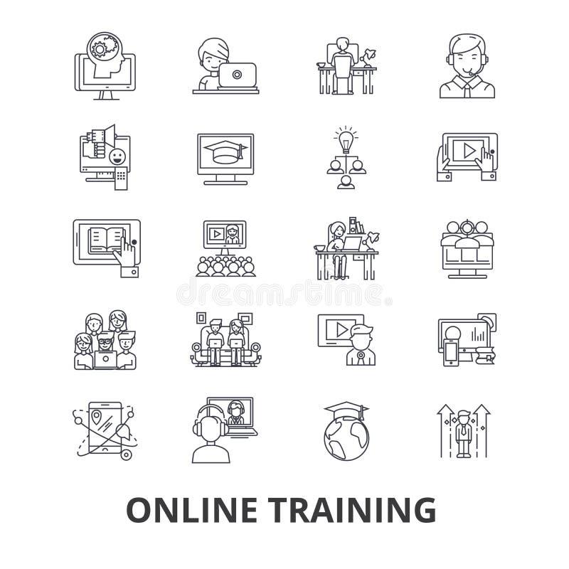 Formation en ligne, webinar, ordinateur, apprentissage en ligne, affaires, marché, ligne de cours icônes Courses Editable Concept illustration libre de droits
