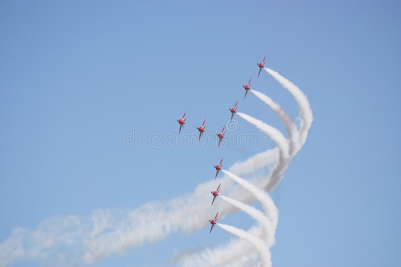 Formation flight Red arrows stock images