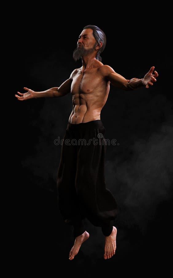 Formation humaine de sports d'arts martiaux avec le chemin de coupure illustration stock