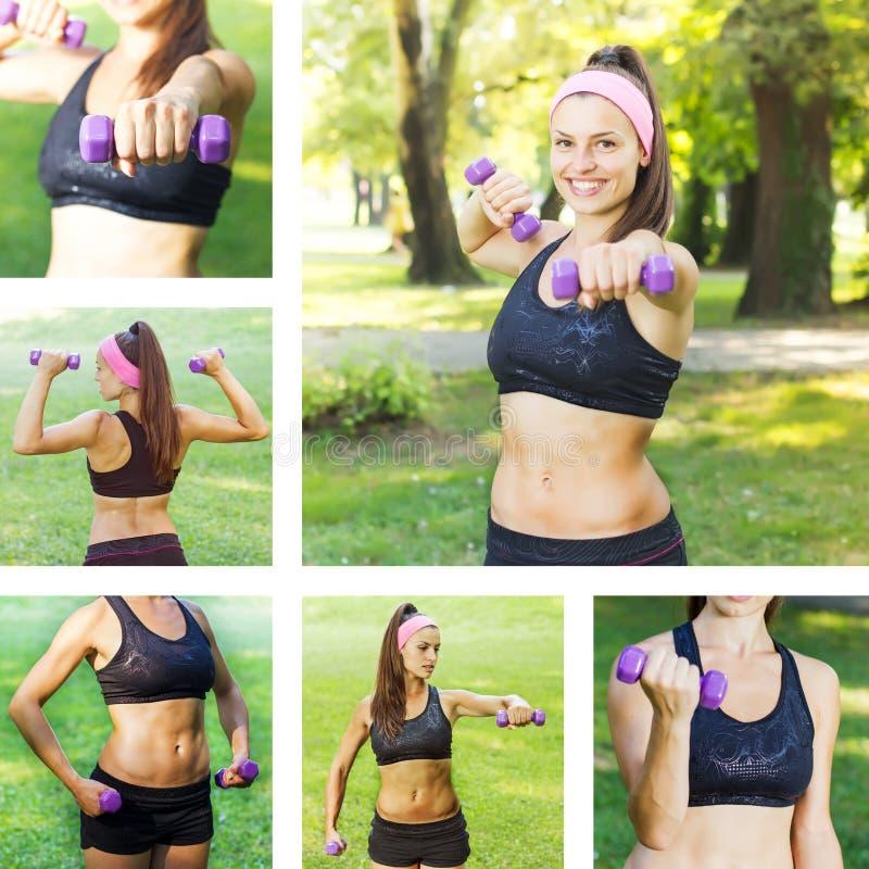 Formation mince de femme de forme physique avec des haltères photographie stock libre de droits