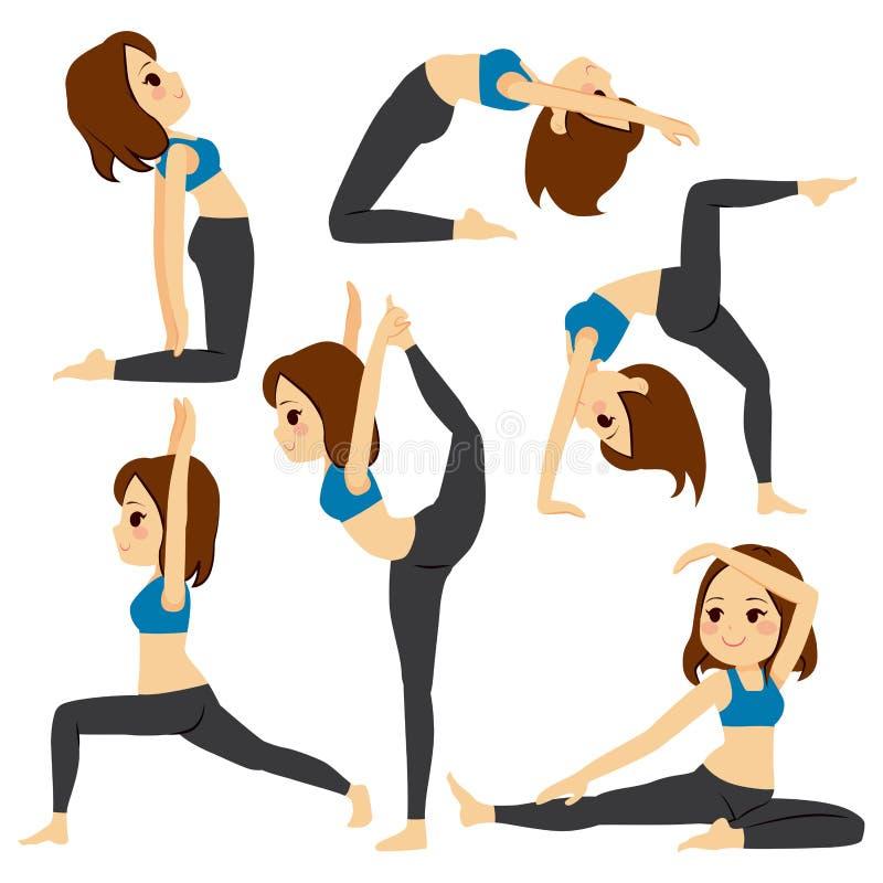 Formation réglée de fille de poses de yoga illustration stock