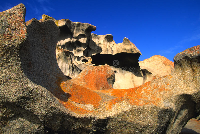 Formation at Remarkable Rocks Australia. A rock formation at remarkable rocks on kangaroo island australia stock photo