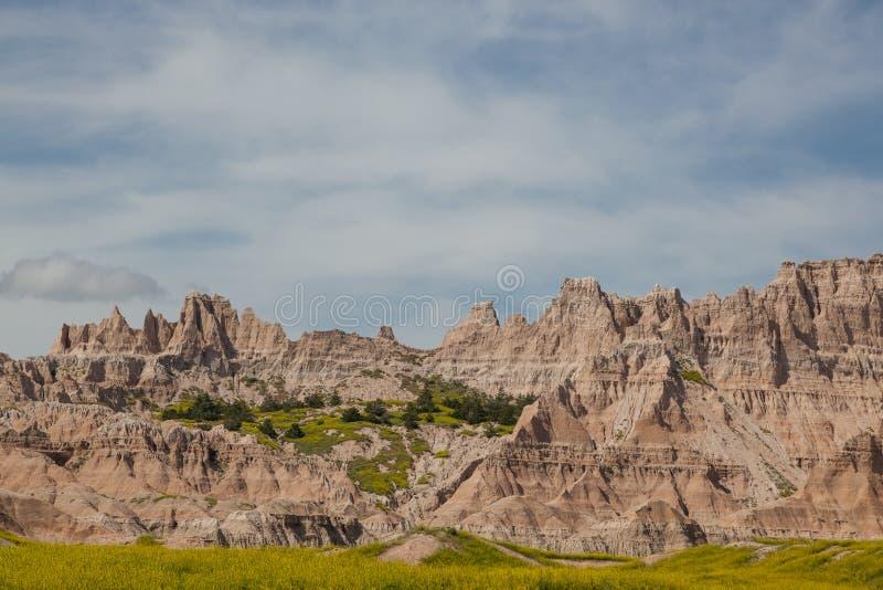 Formations de montagne de parc national de bad-lands photo stock