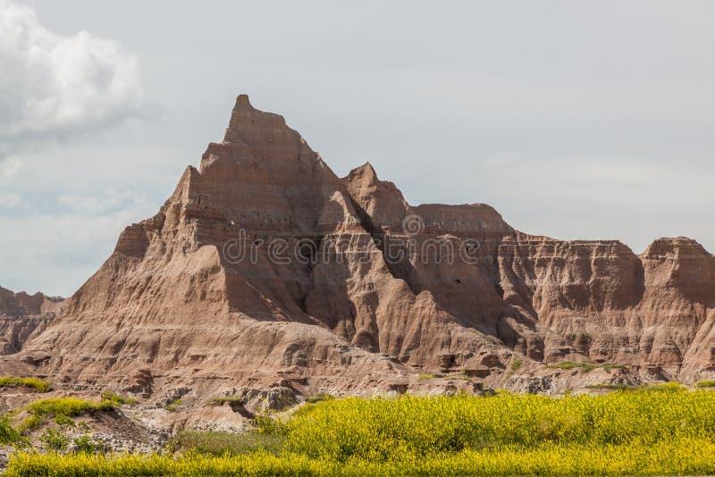 Formations de montagne de parc national de bad-lands image libre de droits