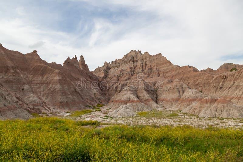 Formations de montagne de parc national de bad-lands photographie stock libre de droits