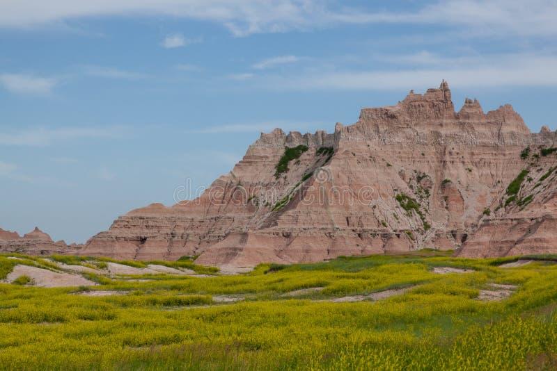 Formations de montagne de parc national de bad-lands images libres de droits
