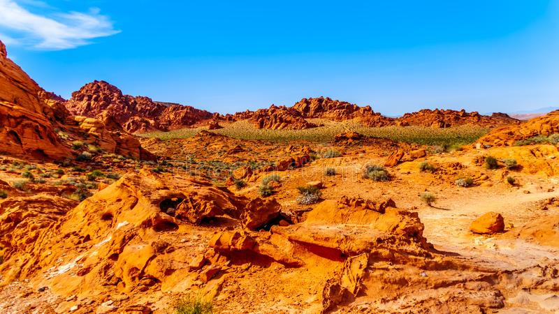 Formations de roche aztèques rouges de grès dans la vallée du parc d'état du feu, Nevada, Etats-Unis image libre de droits