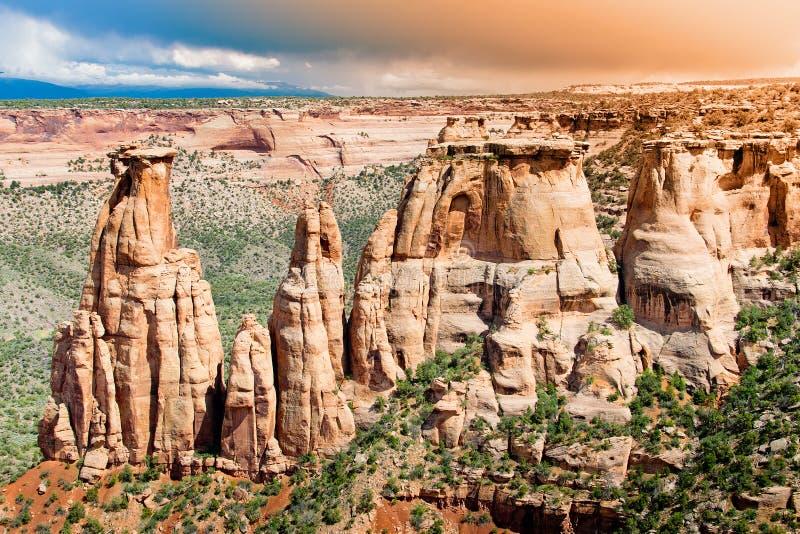 Formations de roche en monument national du Colorado images libres de droits
