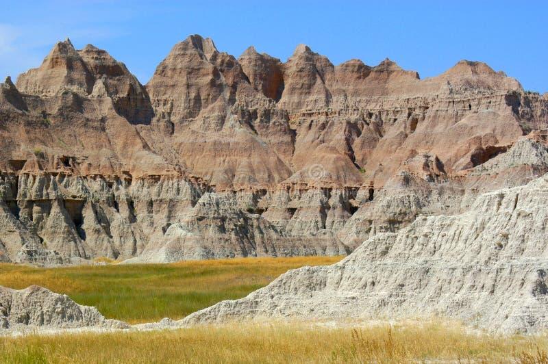 Formations de roche en parc national de bad-lands du Dakota du Sud photos stock