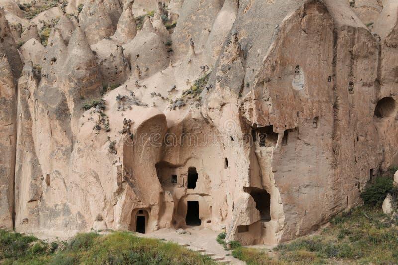Formations de roche en vallée de Zelve, Cappadocia image stock