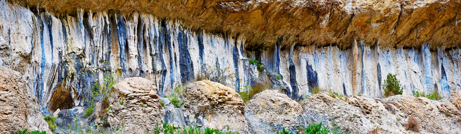 Formations from limestone rocks in walls of Lumbier Canyon stock image