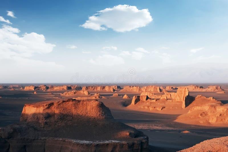 Formations rocheuses dans le désert de Dasht e Lut Automne de Sheykh Alikhan perse image stock