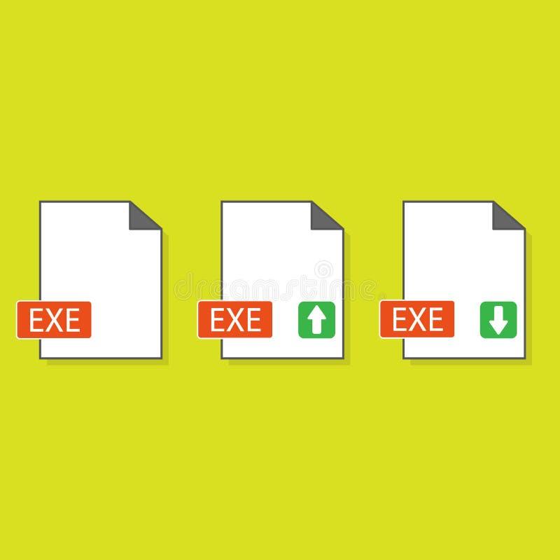 Formato de archivo ejecutable del icono EXE de la extensión de nombre de fichero creado en estilo plano La muestra representa una stock de ilustración