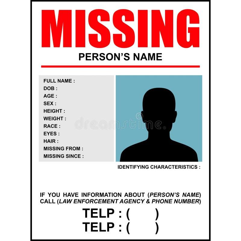 Formato de retrato del cartel del desaparecido 2 stock de ilustración
