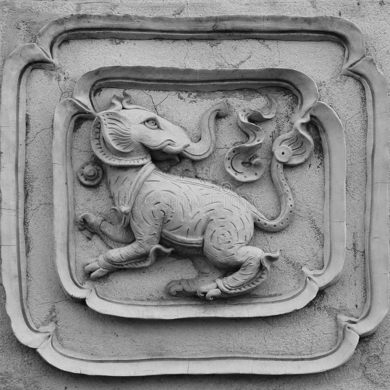 Formato decorativo del quadrato di progettazione della parete del modello della scultura bianca dello stucco fotografia stock
