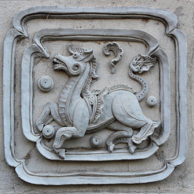 Formato decorativo del quadrato di progettazione della parete del modello della scultura bianca dello stucco fotografia stock libera da diritti