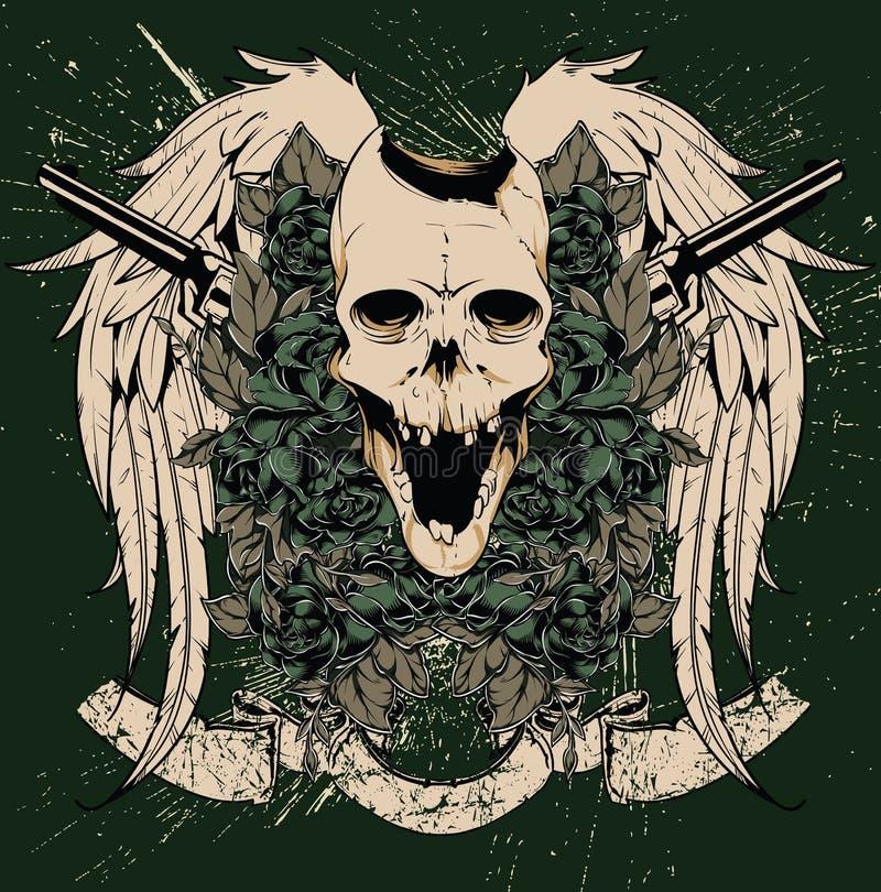 Vettore delle pistole e del cranio royalty illustrazione gratis