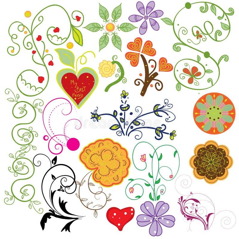 Grupo de elementos do projeto do Doodle ilustração royalty free