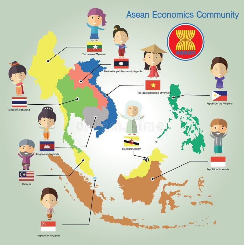 Formato eps10 de la comunidad de la economía de la ANSA (AEC) stock de ilustración