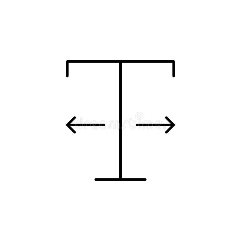 Formato, texto, ícone da largura Elemento do texto e da tipografia para o conceito e o ícone móveis dos apps da Web Linha fina íc ilustração royalty free