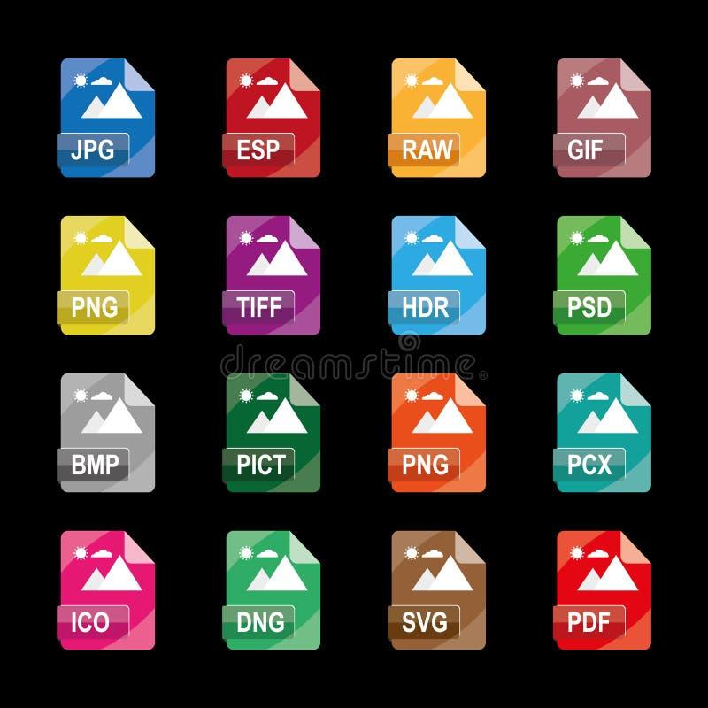 Formatos de archivo de imagen, extensiones de archivo, iconos coloridos planos del vector, aislados en el fondo blanco ilustración del vector