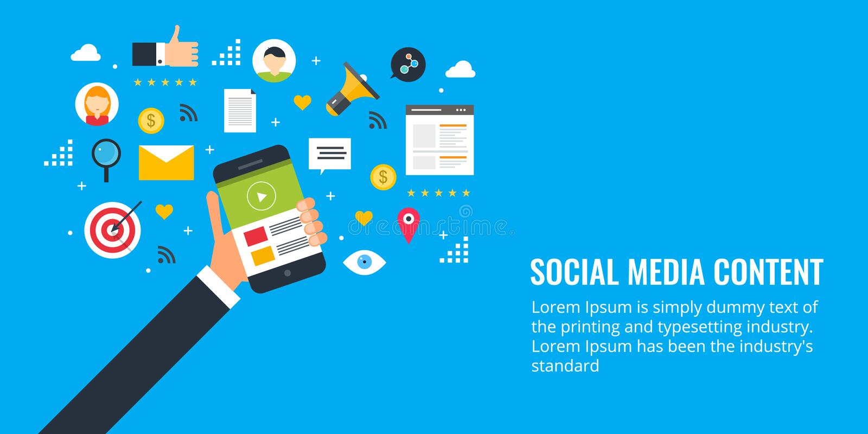 Formats satisfaits pour l'engagement social de media, texte, vidéo, image, recherche, email Bannière plate de vente de conception illustration libre de droits