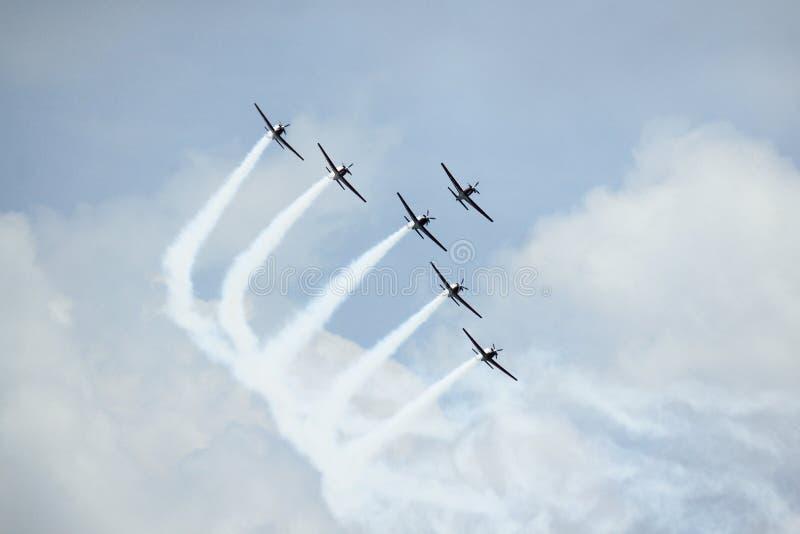 Formazione Jupiter Aerobatic Team immagine stock