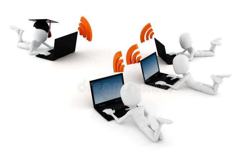 formazione on-line dell'uomo 3d, isolato su priorità bassa bianca illustrazione di stock