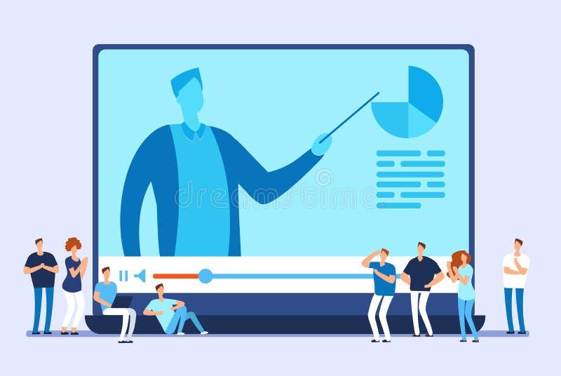 Formazione in linea Le video esercitazioni, addestramento di Internet e web scorrono il concetto di vettore illustrazione vettoriale