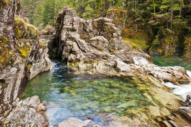 Formazione rocciosa con acqua di verde smeraldo fotografia stock libera da diritti