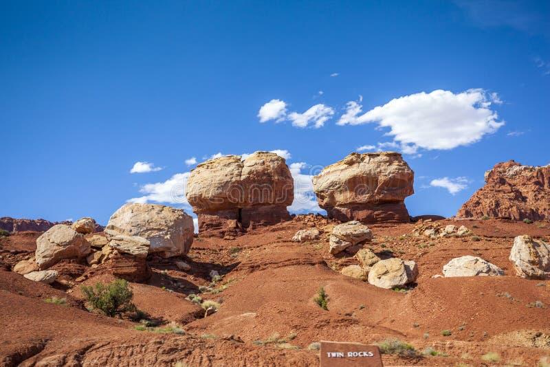 Formazione rocciosa nel parco nazionale della scogliera del Campidoglio, U.S.A. fotografie stock