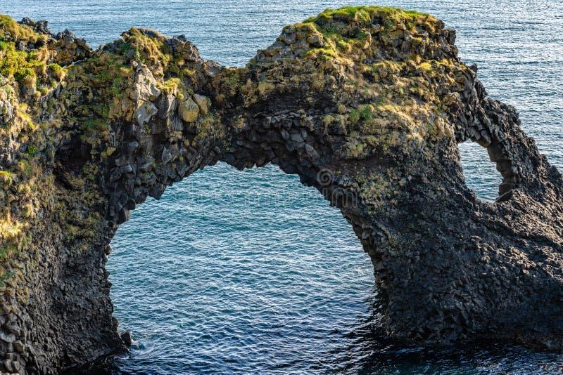 Formazione rocciosa sconosciuta della lava in Islanda immagine stock