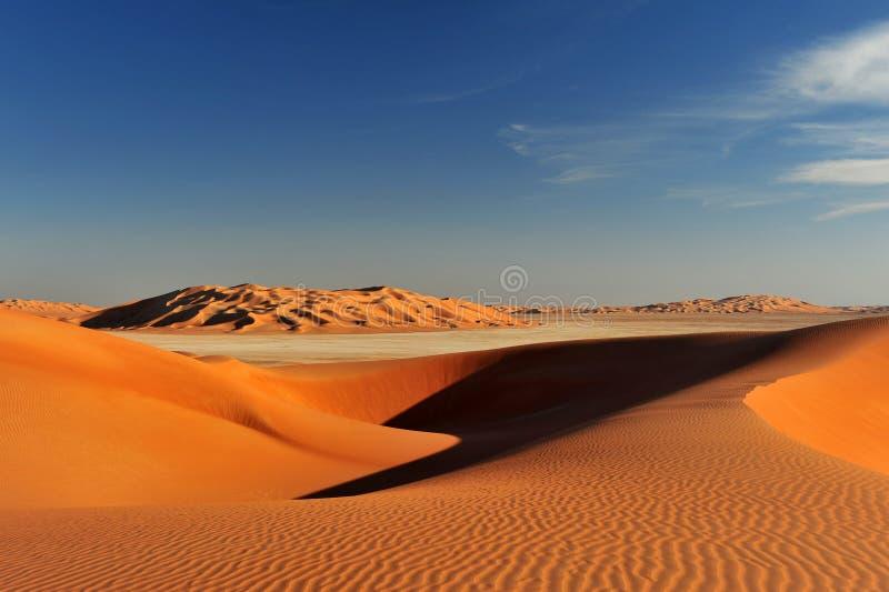 Formazioni della duna in Al Khali dello sfregamento fotografie stock libere da diritti