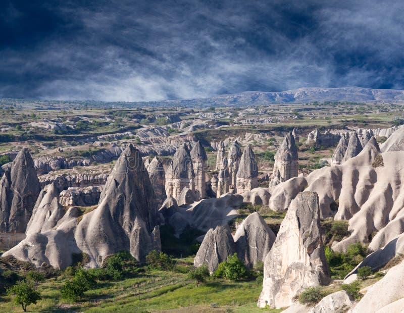 Formazioni geologiche uniche in Cappadocia, Turchia immagini stock